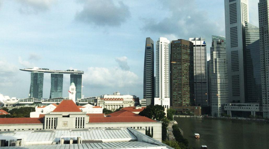 Aussicht auf Marina Bay in Singapur