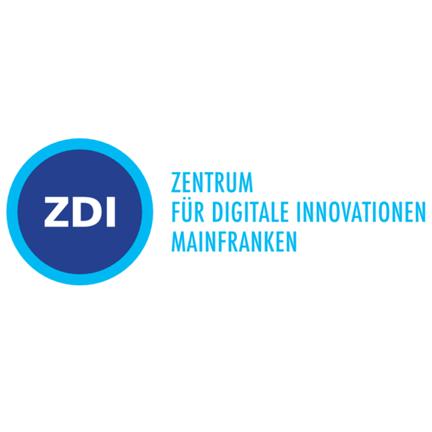 """Blaue Kreise mit Buchstaben ZDI, daneben: """"Zentrum für Digitale Innovationen Mainfranken"""""""