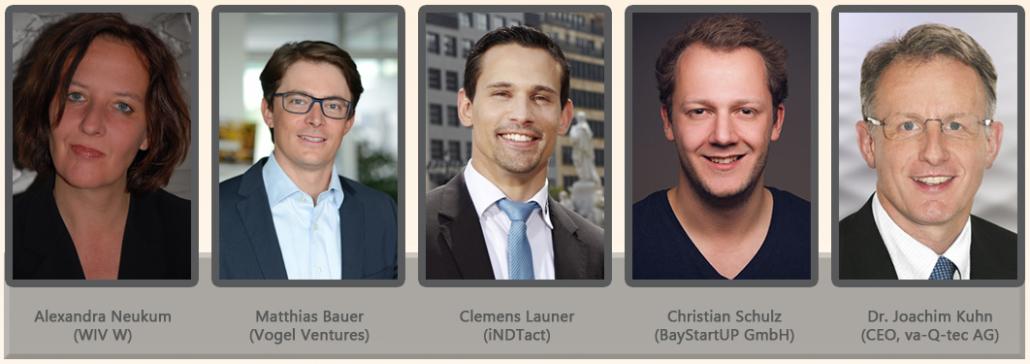 Die Jury des 3. Startup-Preises Würzburg 2018 (v.l.): Alexandra Neukum (WIV W), Matthias Bauer (Vogel Ventures), Clemens Launer (iNDTact), Christian Schulz (BayStartUP GmbH) und Dr. Joachim Kuhn (CEO, va-Q-tec AG)