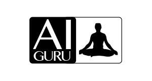 Schrift AI GURU, schwarze Sillhouette im Schneidersitz