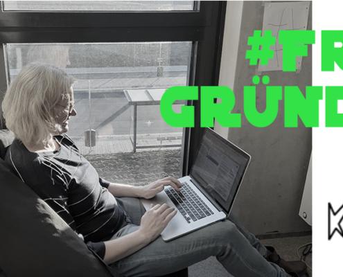 frau am laptop sitzend schrift: #fraugründet, logo: k-bim