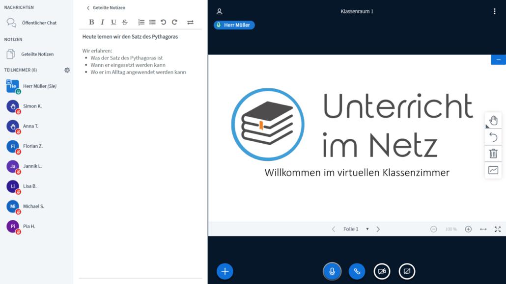 Unterricht im Netz Screenshot, Lernplattform mit Teilnehmern
