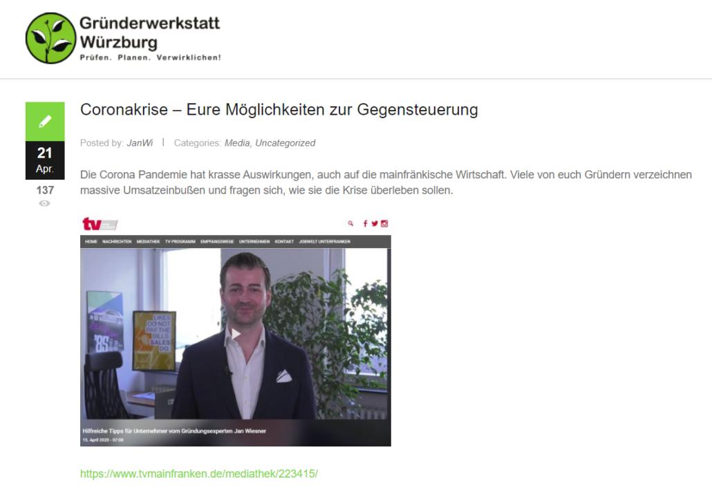 Screenshot gruenderwerkstatt-wuerzburg.de